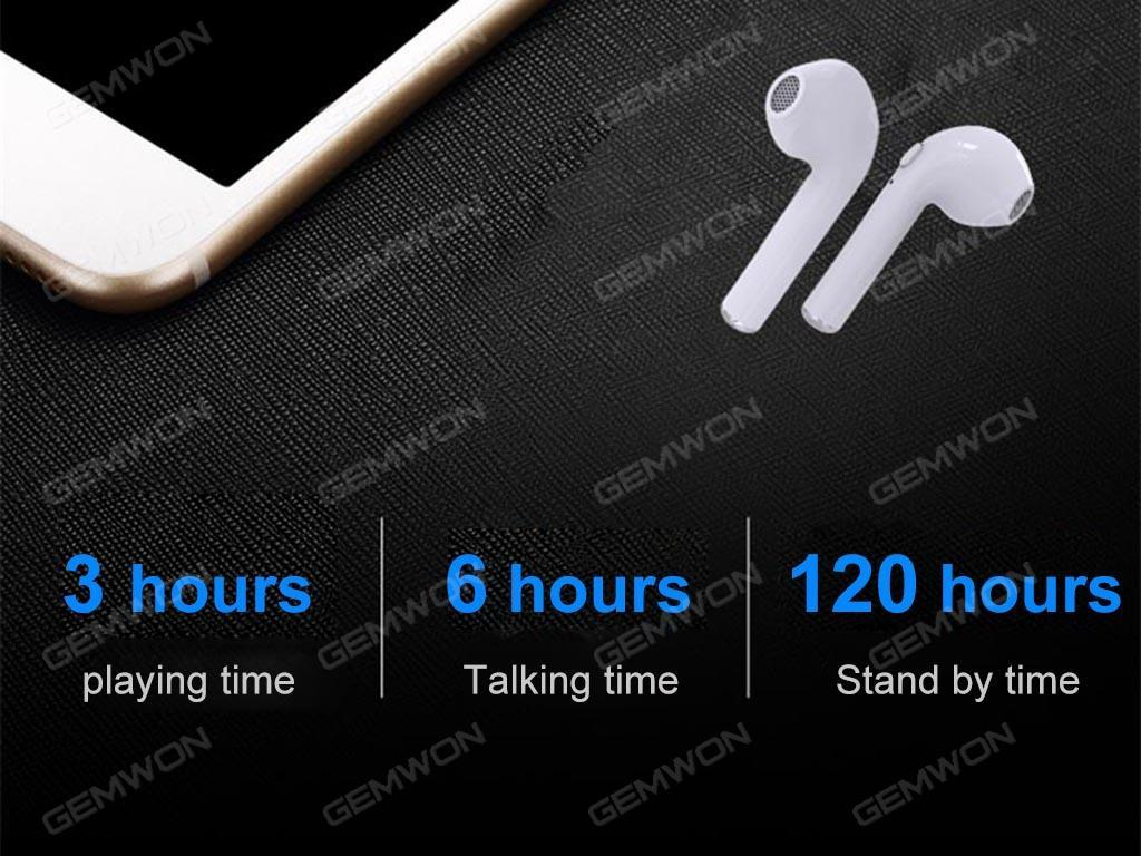 HBQ I7 Bluetooth Earphones for phone call Sport Double-ear portable bluetooth Wireless Earbuds with Microphone for IPhone 7/ 7 plus/ 6/ 6s plus / Samsung galaxy S8 etc Smartphones Black Headset I7