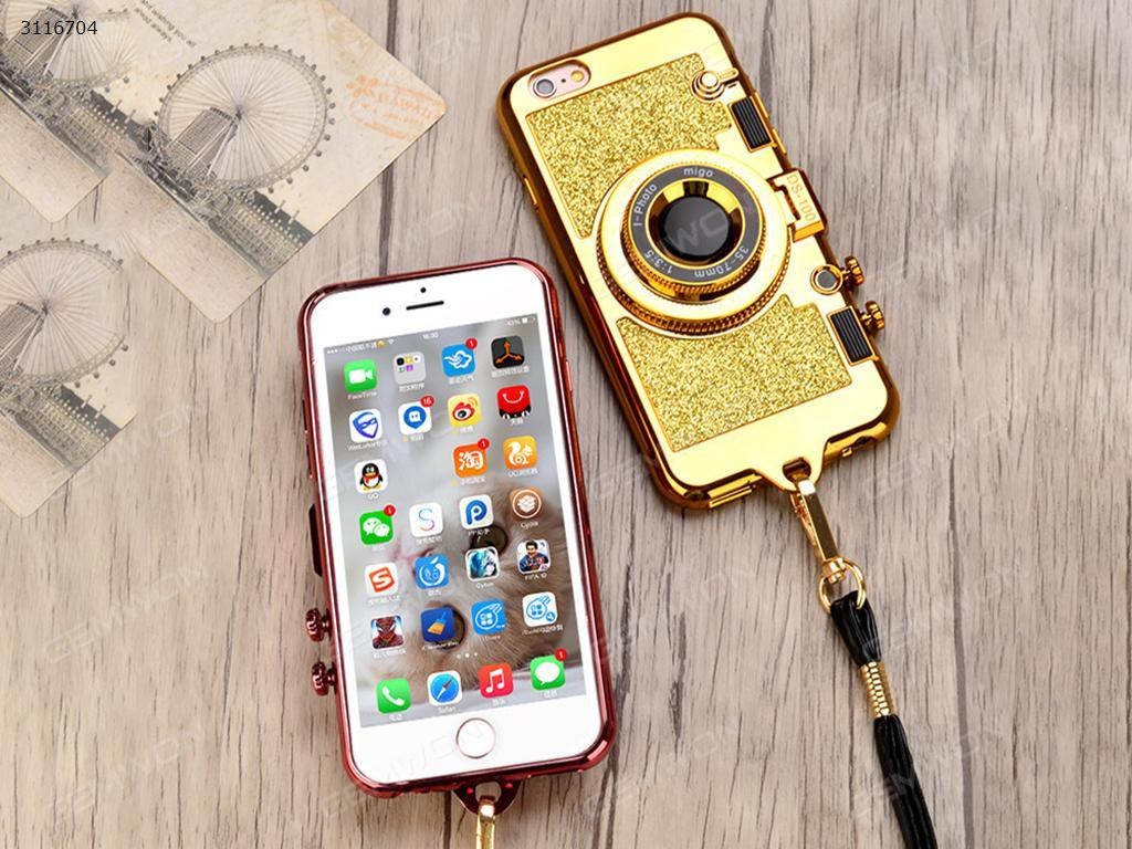 iPhone6 Camera mirror case,Imitation camera,Mirror creative stand,Synthetic leather strap with whole package of soft glue,silver Case iPhone6 Camera mirror case