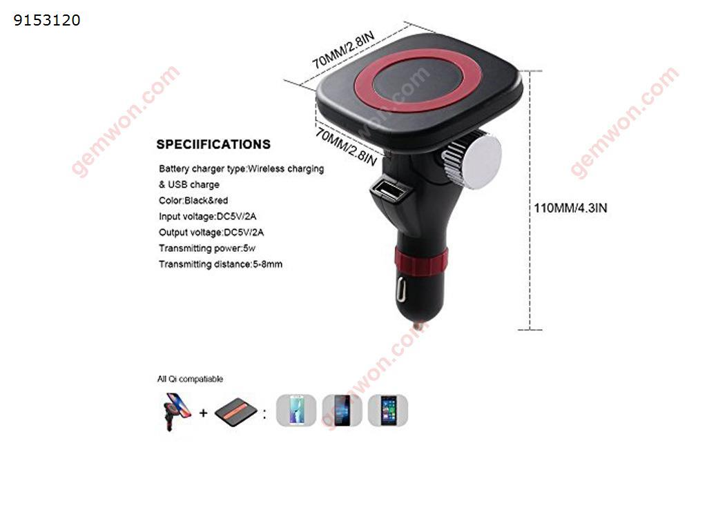 Car Magnetic Wireless Charge with 180° Adjustable Phone Mount Holder for Qi Android Smartphones,Samsung Note LG Nexus and More Car Appliances KT-C4
