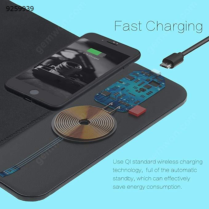 Qi Wireless Charger Mouse Pad 2 in 1 Charging Mat Durable Stable Portable Safe Built-in Wireless Charger for All Qi Devices