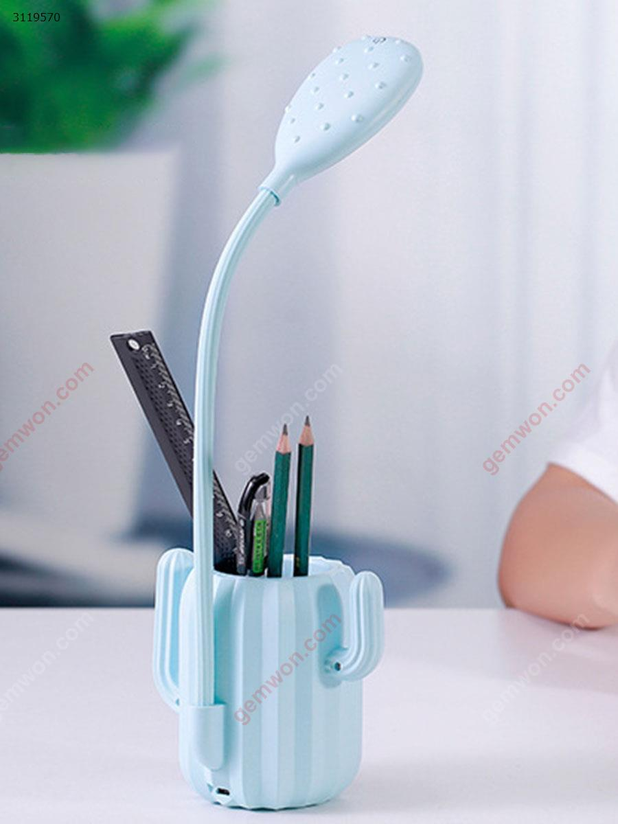 Creative cactus touch table lamp pen holder storage student learning reading eye led charging night light gift,blue LED Ltrip LLD-T02