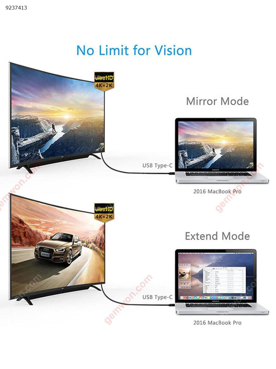 USB C to HDMI cable. Type c to HDMI. Support 4k2k 60hz HD signal (red) Charger & Data Cable TYPE C