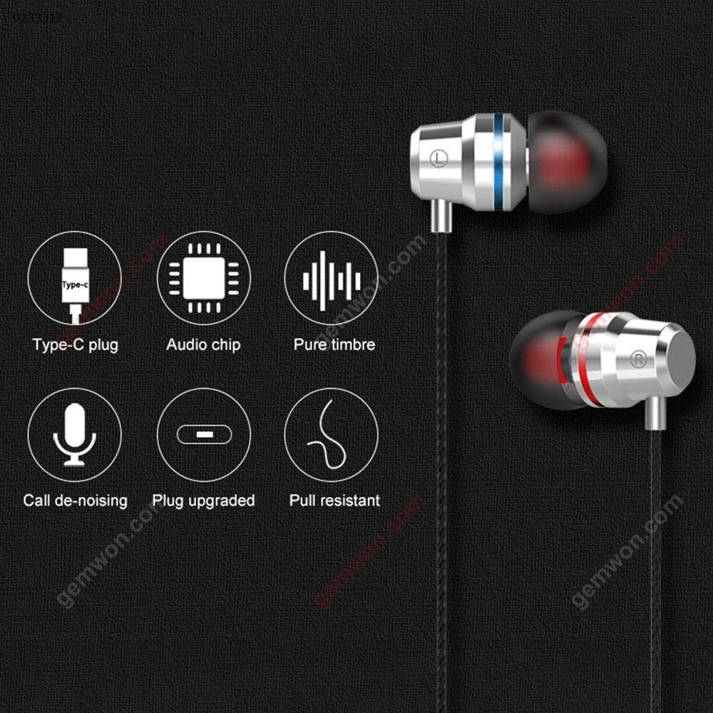 USB-C Type-C Stereo Earbuds Earphone Music Headset Super Bass Headphone with Mic Gold Headset N/A