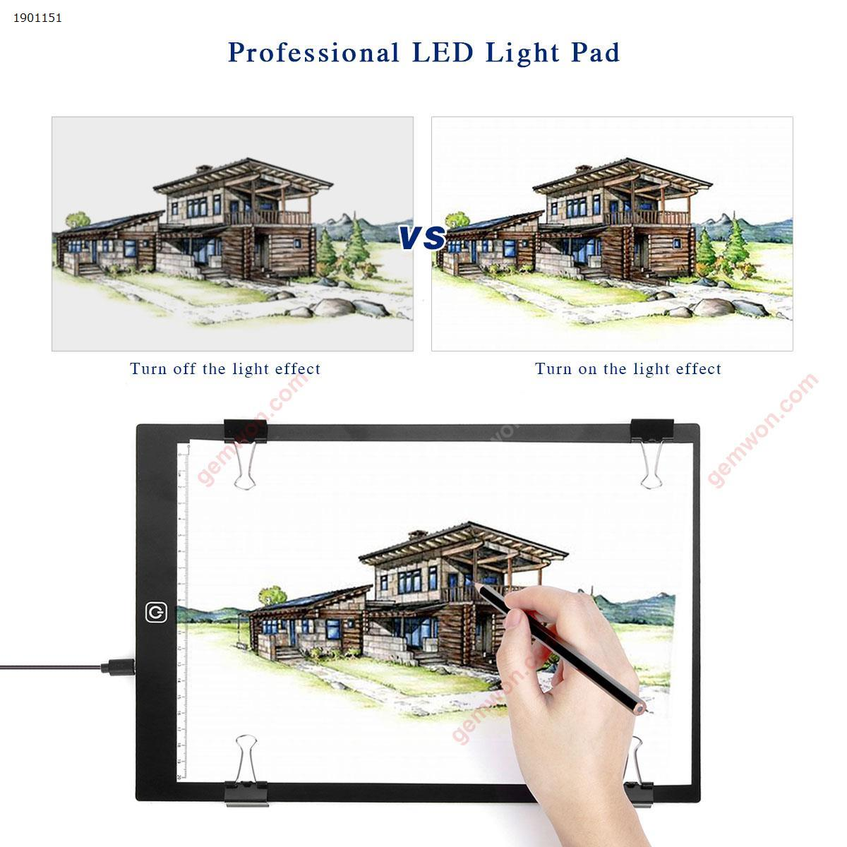 Package 1:LED Painting Copy Board A4 (330*230*3.5MM)Scaled, dotless, A4, Polarless Dimming + 1.5 USB WireA Graphite Pencil1 rubber liniment12 short color pencilsTwenty drawings4 clamps2 protectorAn English Manual Home Decoration LED PAINTING COPY BOARD