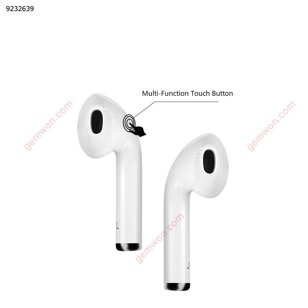 Lanxun i12 Tws Wireless Bluetooth 5.0 Stereo Bass Headphones, Touch 3d Bilateral Stereo, Magnetic Contact Charging, Waterproof,White Headset I12