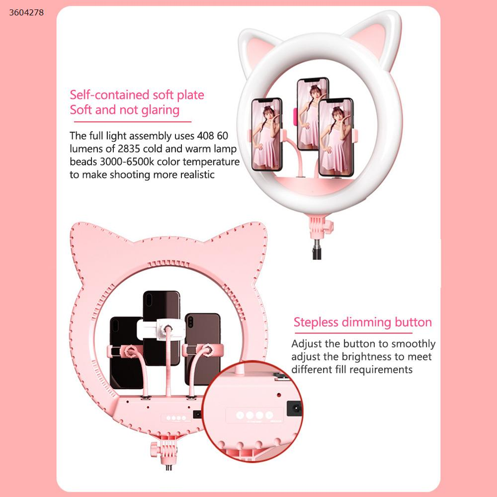 """Newest adorable design 65W out 20""""inch ring light with tripod 3pcs phone holders USB charging for live stream fill light pink Decorative light N/A"""