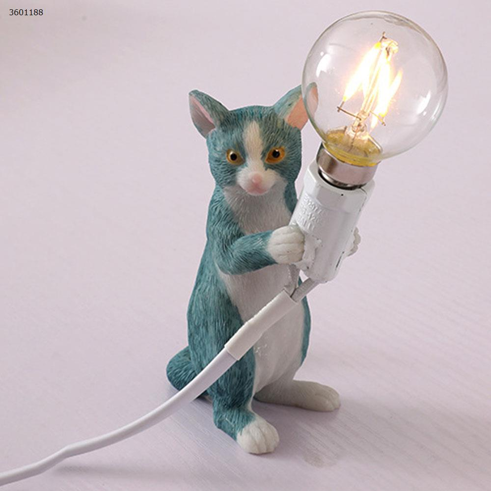 Simple creative bedroom bedside study office desk LED resin cat small table lamp (B section blue) table lamp N/A