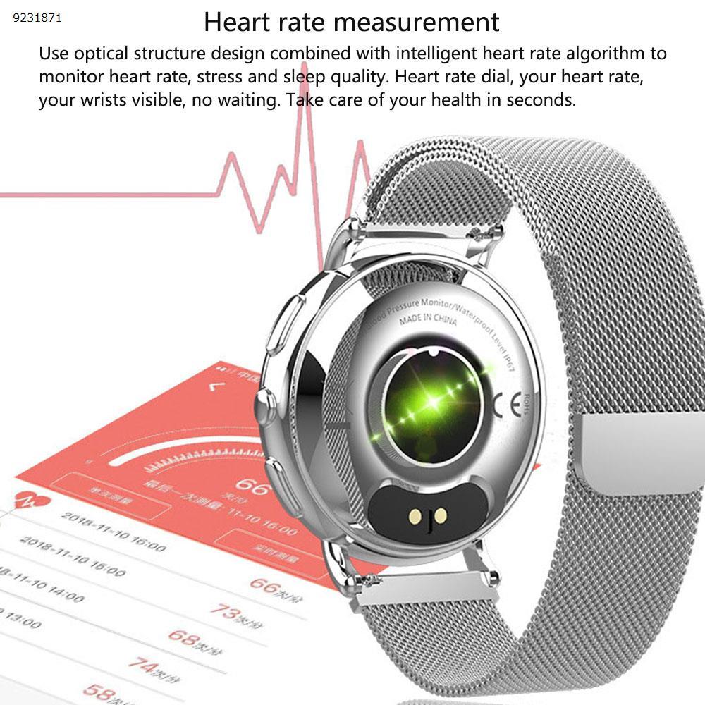 All metal bracelet T7 business fashion watch men and women smart bracelet heart rate monitoring reminder(All metal silver) Smart Wear TLWT7