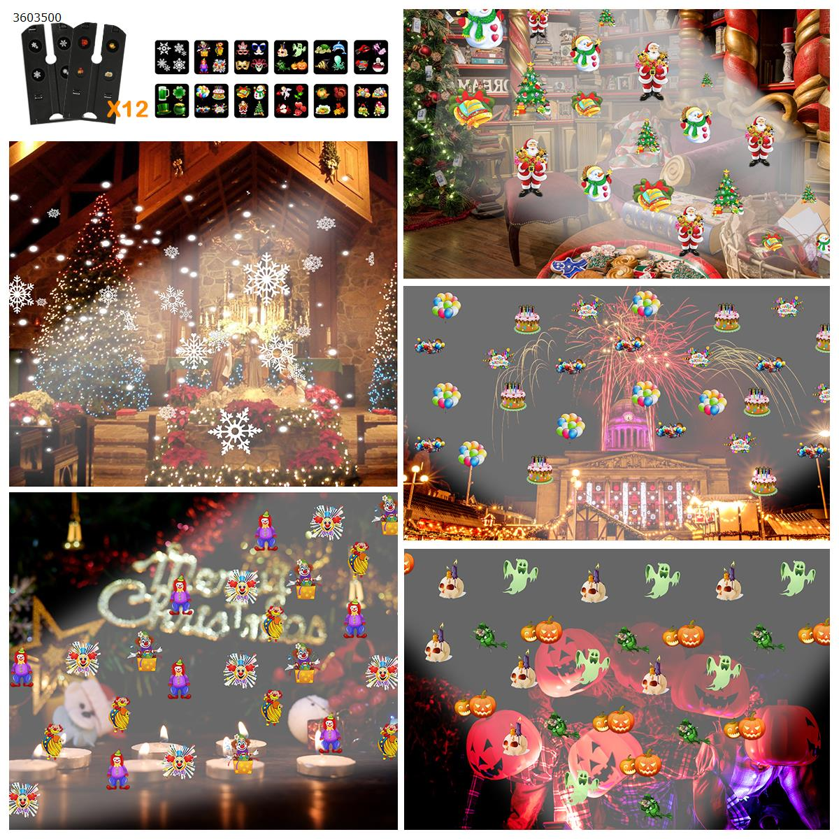 Double-tube water lamp 12 pattern Card film projector lamp Christmas lamp (US) Other N/A