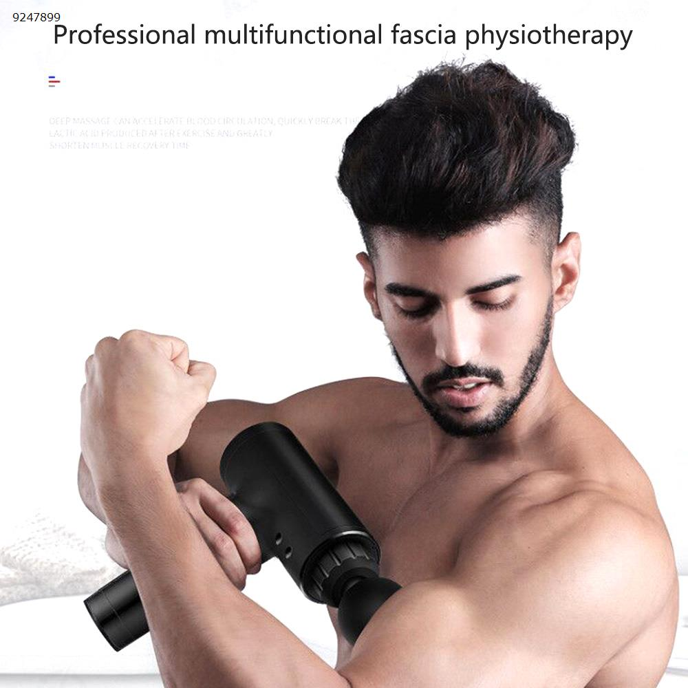 Fascia gun muscle relaxer high frequency electric massage gun deep fitness physiotherapy device vibration small impact gun (black)  Electronic Digital N/A