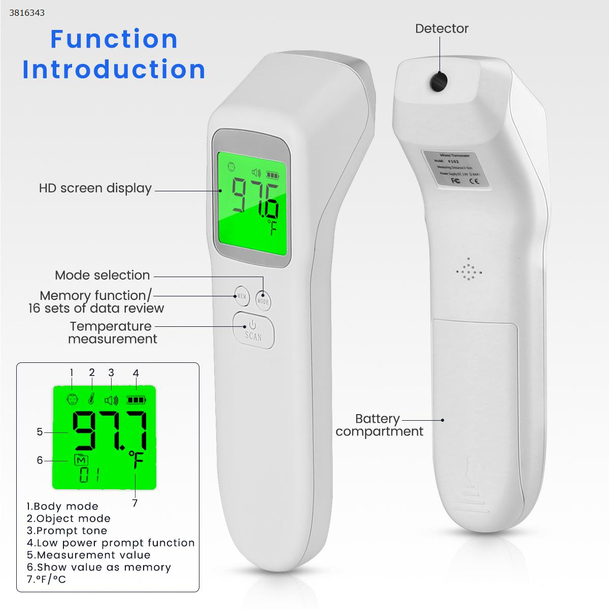G11 F102 Non-contact frontal temperature gun, body temperature gun human body electronic thermometer, hand-held infrared thermometer Health monitoring G11 F102